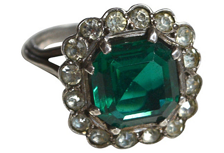 French Emerald Glass Cocktail Ring