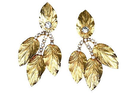 1970s KJL Leaf Earrings