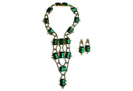 KJL Emerald Glass Necklace & Earrings