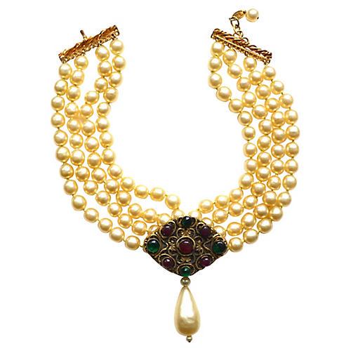 1980s Chanel Gripoix & Faux-Pearl Choker