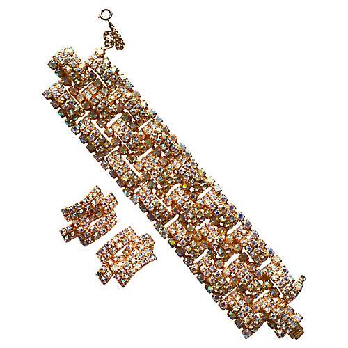 1950s Aurora Borealis Bracelet Set