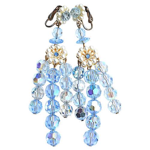 1960s Oversize Blue Crystal Earrings