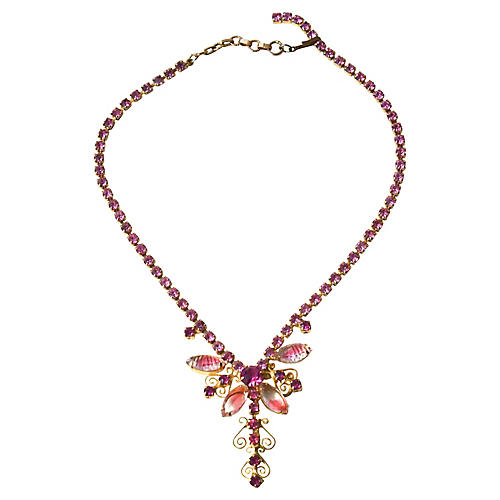 1950s Pink Rhinestone Necklace