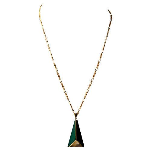1970s Geometric Malachite Necklace