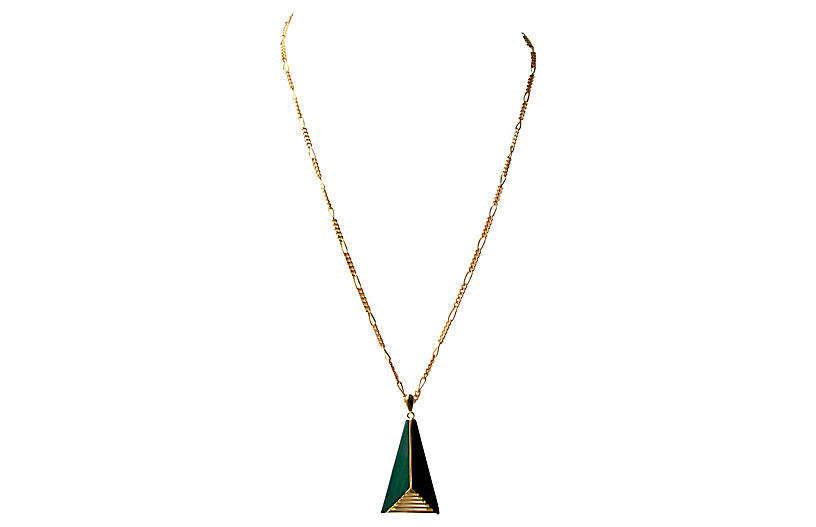 1970s Geometric Malachite Necklace - Sarara Vintage Couture