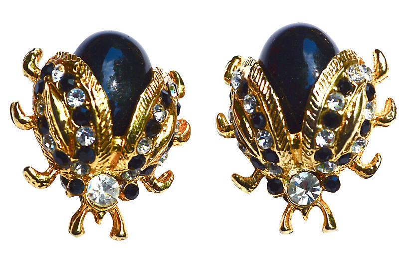 Black & Gold Lady Bug Earrings - Sarara Vintage Couture