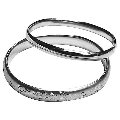Sterling Bangles, Pair