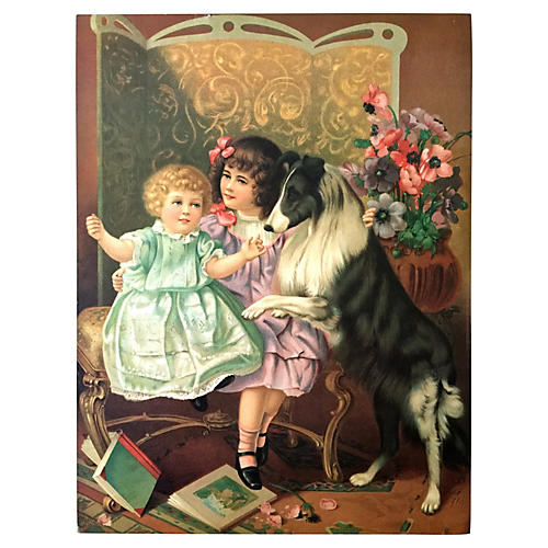 Antique Lithograph Victorian Girls & Dog