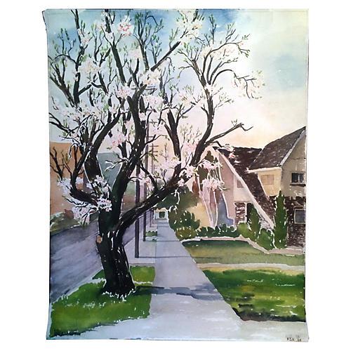 California Watercolor, Almond Tree