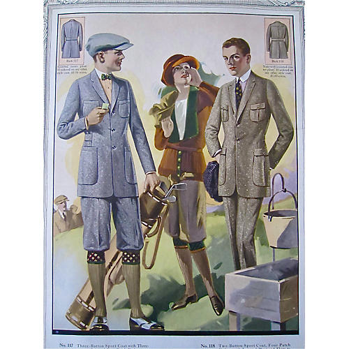 Tailor Shop Poster Golf Attire, 1923