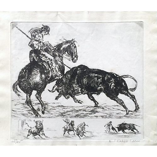 Etching of a Bullfight