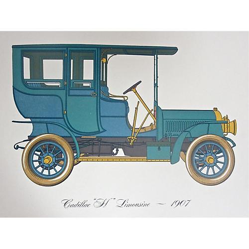 1907 Cadillac Limo Lithograph