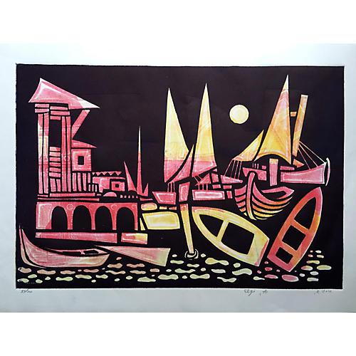 Abstract Venetian Boats by Amram Ebgi
