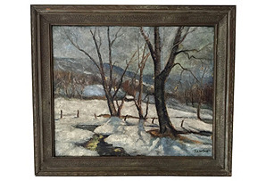 Winter Landscape Oil Painting by Dawson*