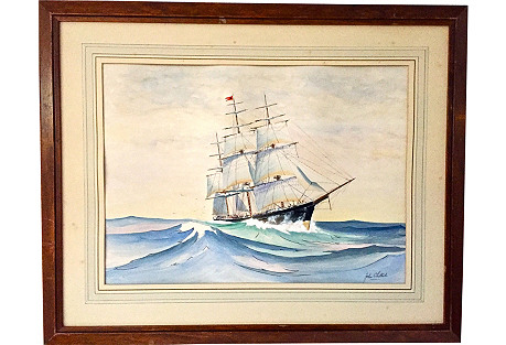 Painting of a Schooner by Whitlock