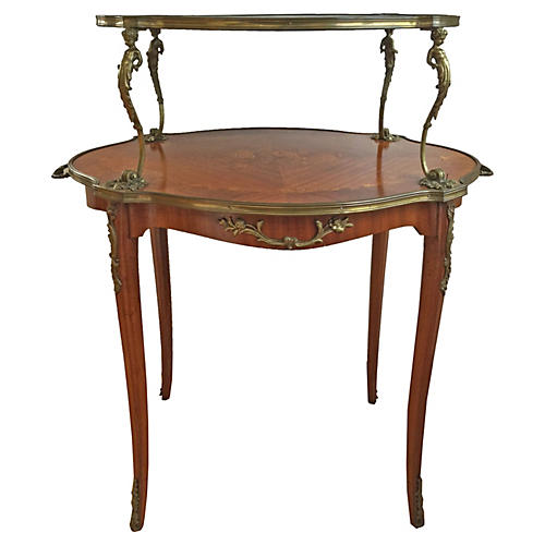 19th-C. Louis XV-Style 2-Tier Table