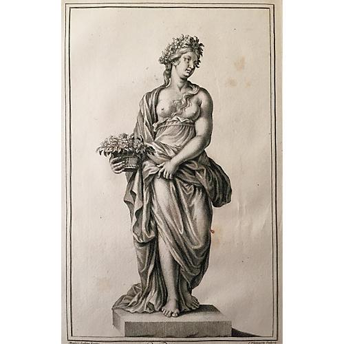 """Le Printemps"" Italian Engraving, 1704"