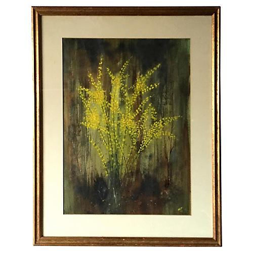 Flowering Bush Watercolor Painting