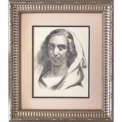 French Portrait Drawing Woman c.1847