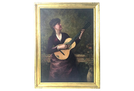19th-C. Woman Playing Guitar, Italy