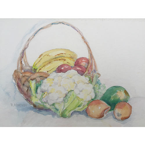 Watercolor Still Life Fruit by R. Hoevel