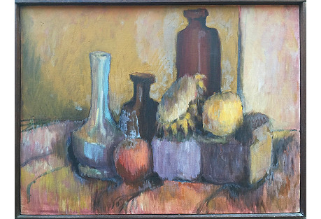 Bottles and Fruit by Joan Adams