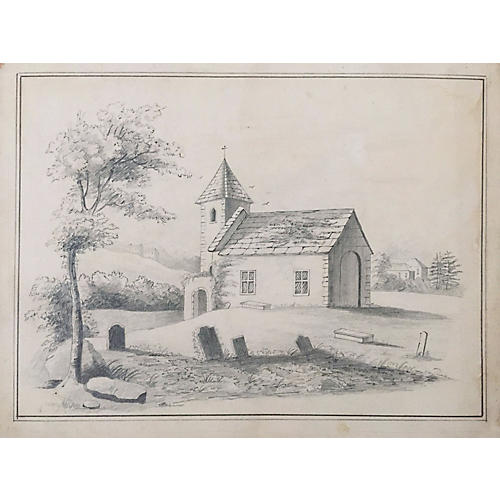 19th-C. French Drawing of a Church