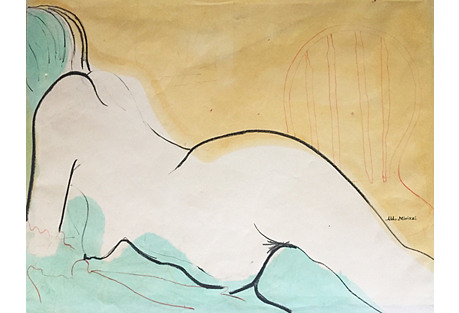Midcentury Abstract Nude Watercolor