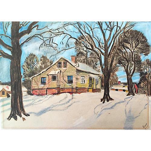 Winter Cabin Drawing