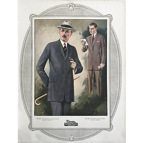 Tailor's Menswear Fashion Print, 1923