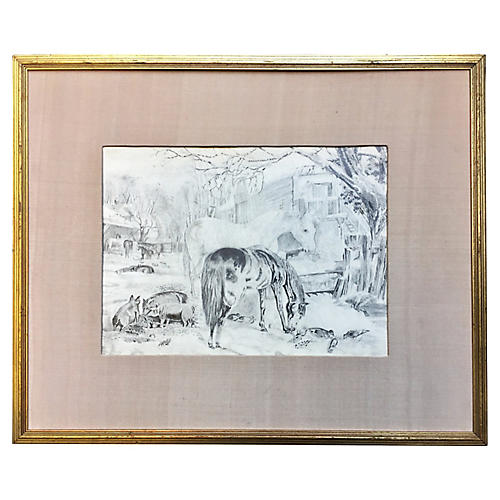 Antique Barnyard Animal Scene