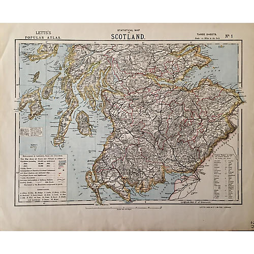 Scotland Letts Atlas Map, 1883
