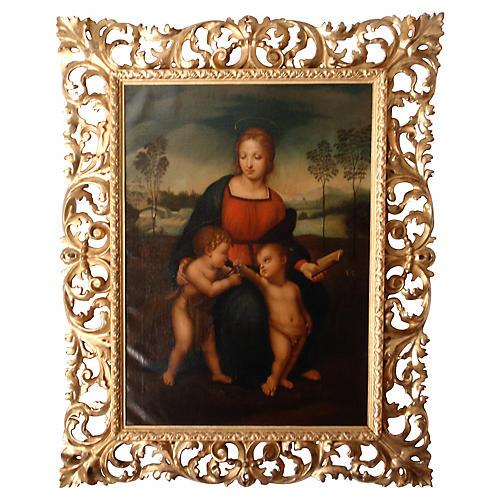 Madonna 18th Cent. Oil After Raphael