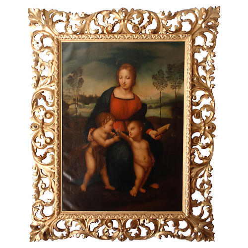 Madonna 18th Cent. Oil After Raphael