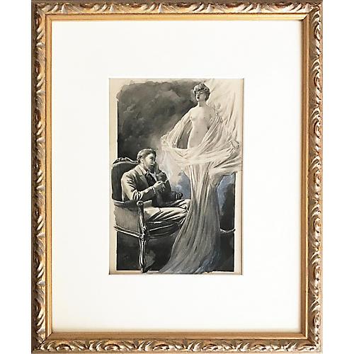 Nude Apparition Watercolor, C. 1900
