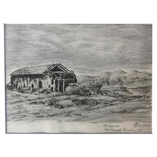 Mission San Fernando Barn Drawing, 1923