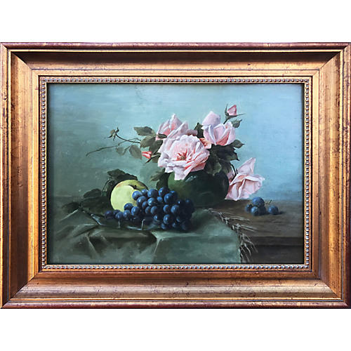 Antique French Still Life of Roses Fruit