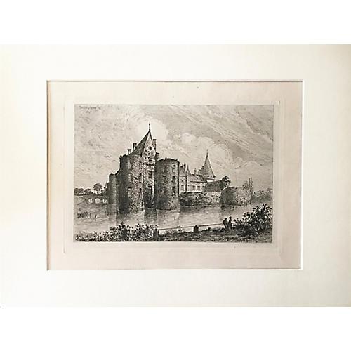 Chateau Sully-sur-Loire Engraving, 1877