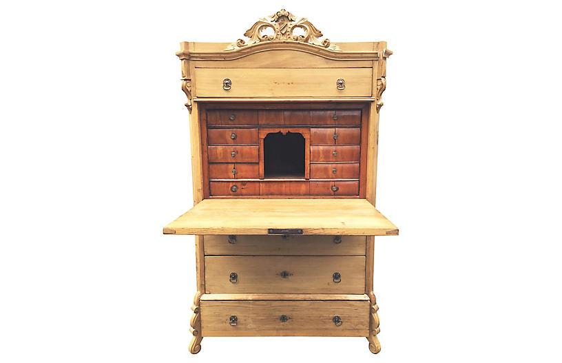 Antique Swedish Pine Drop-Front Desk