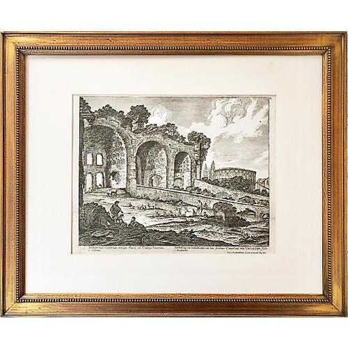 Greek Ruins Etching, 1759