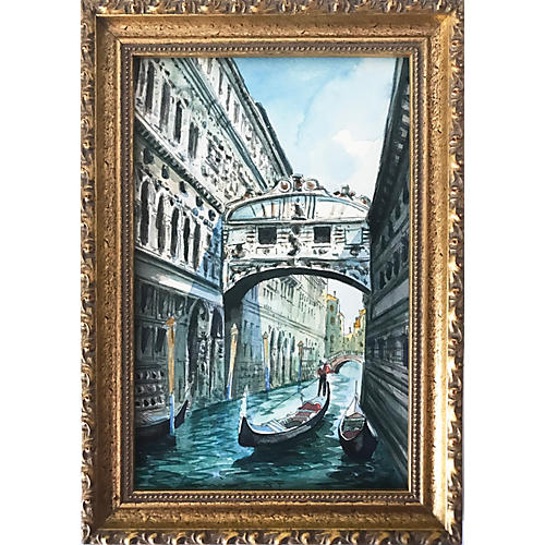 Watercolor Bridge of Sighs, Venice Italy