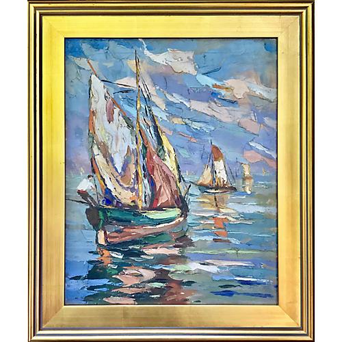 Sailboats Vintage Italian Oil Painting