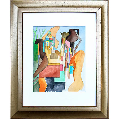 1970s Figural Abstract by Saal