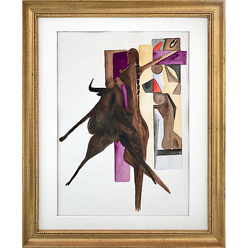1960s Abstract Figure & Bull