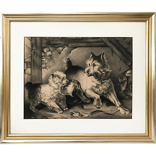 Antique Charcoal Drawing of Terriers