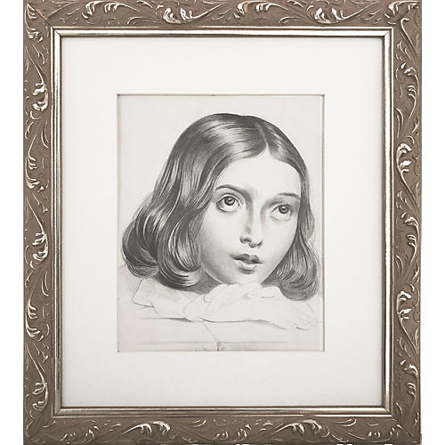 19th-C. French Portrait of a Girl