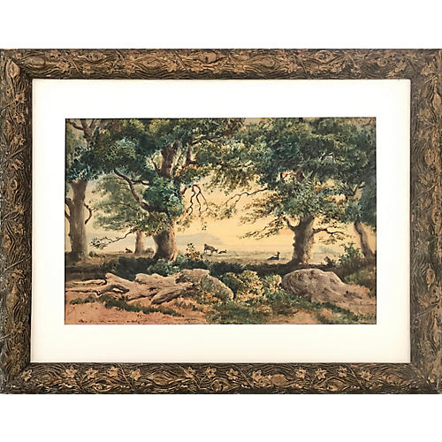 19th-C. French Landscape by Rouet
