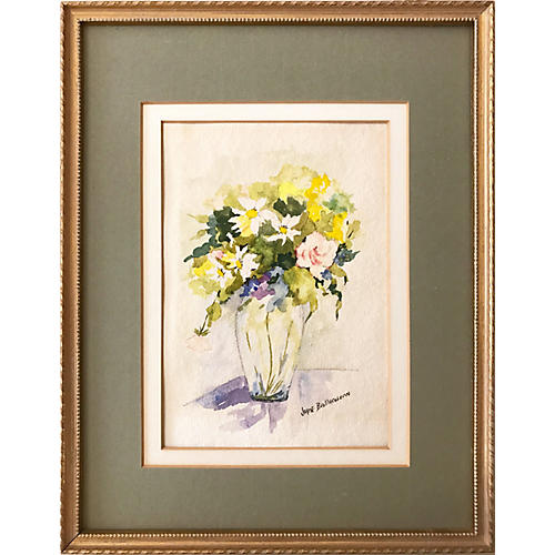 Vintage Floral Watercolor by Baillargenn