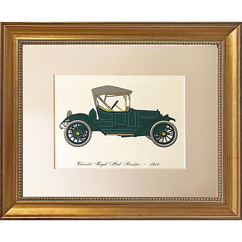 Vintage Lithograph Chevrolet Roadster