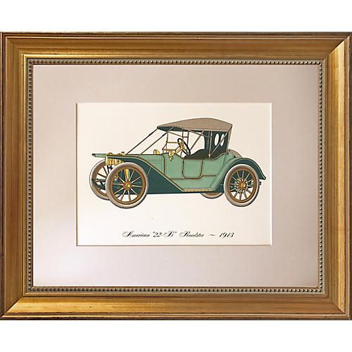 Vintage Lithograph 1913 Roadster